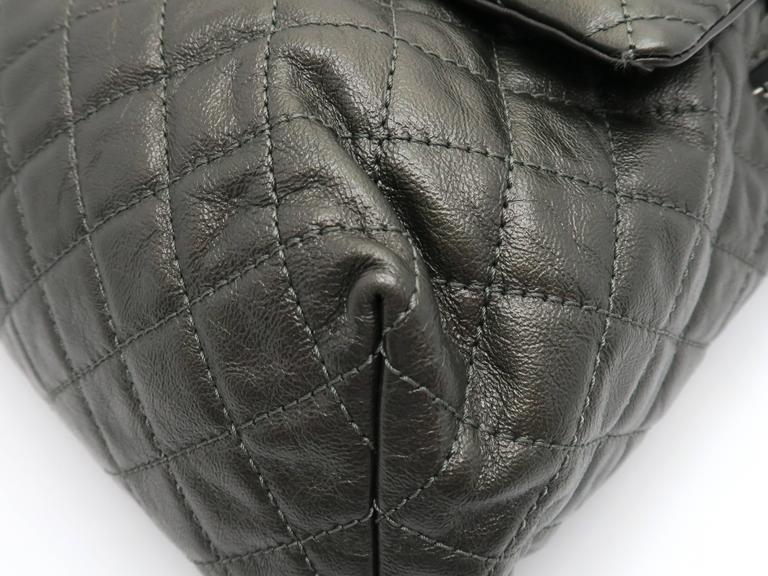 Chanel Dark Green Calfskin Leather Backpack 10