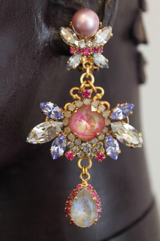 Pink Blue And Lilac Swarovski Crystal And Pearl Statement