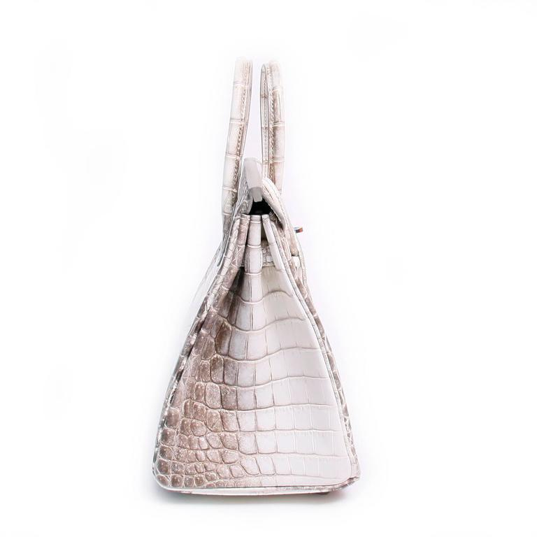 26625a42c735 Hermes 25cm Matte Blanc White Himalayan Nilo Crocodile Birkin Bag In New  Condition For Sale In