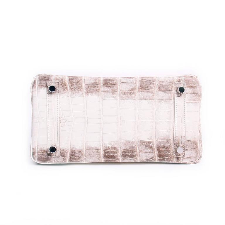 2863a10893ea Hermes 25cm Matte Blanc White Himalayan Nilo Crocodile Birkin Bag For Sale 2