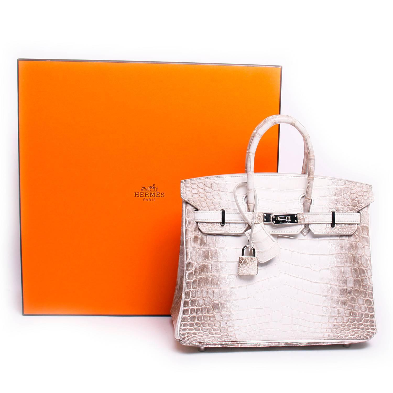 029a1dc6179a Hermes 25cm Matte Blanc White Himalayan Nilo Crocodile Birkin Bag For Sale  at 1stdibs