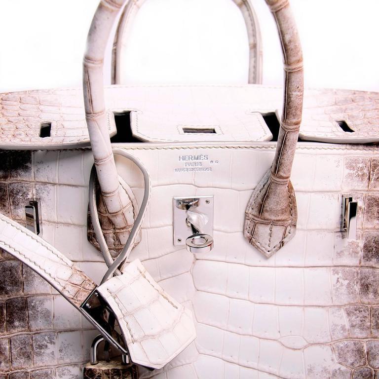 5311905bf97f Hermes 25cm Matte Blanc White Himalayan Nilo Crocodile Birkin Bag For Sale 3