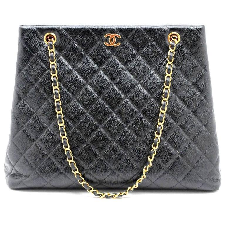 176a5c74a161 Chanel Caviar Black Quilted Leather Shopper Tote at 1stdibs