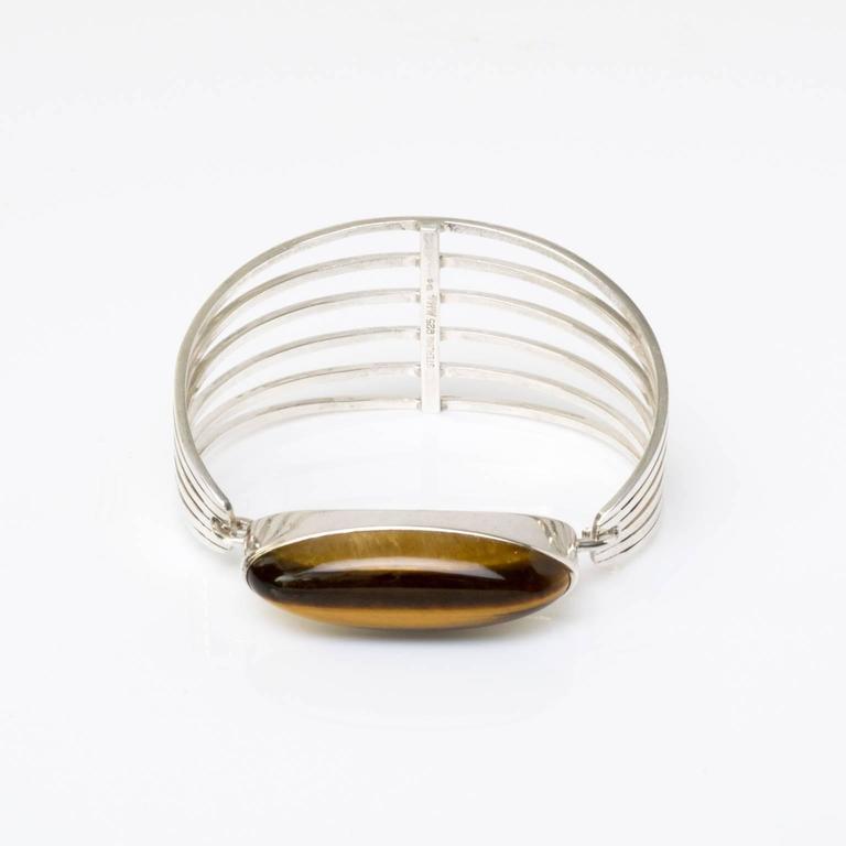 Scandinavian Modern Silver and tigers eye bracelet Noblelle Denmark 1970 For Sale 1