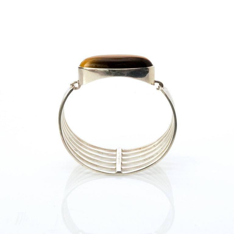 Women's Scandinavian Modern Silver and tigers eye bracelet Noblelle Denmark 1970 For Sale