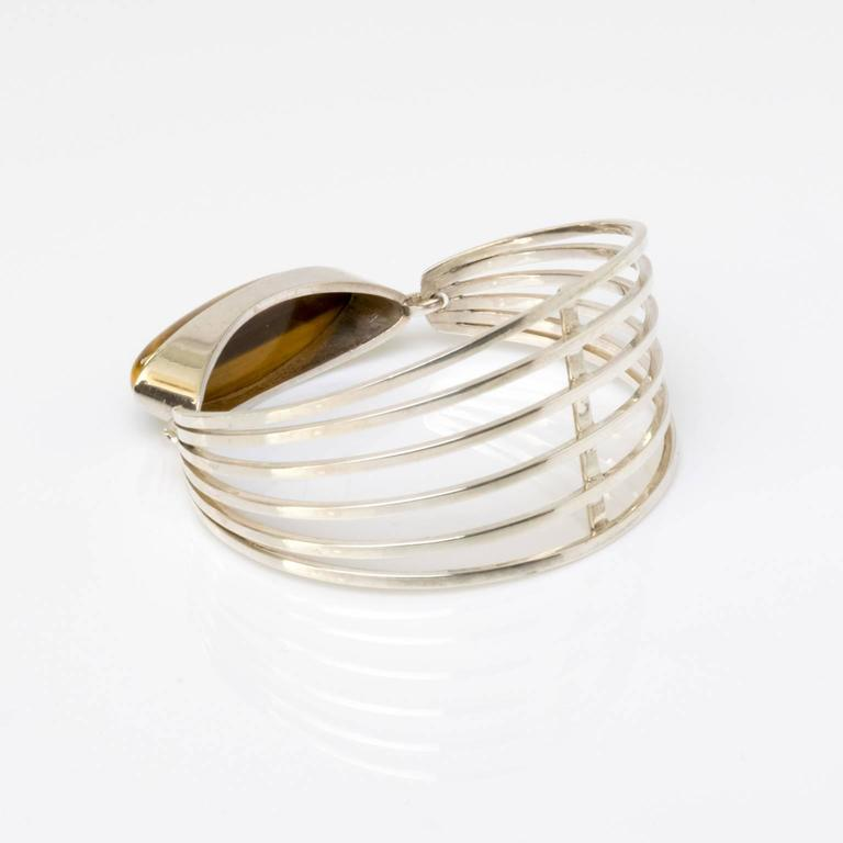 Scandinavian Modern Silver and tigers eye bracelet Noblelle Denmark 1970 For Sale 2