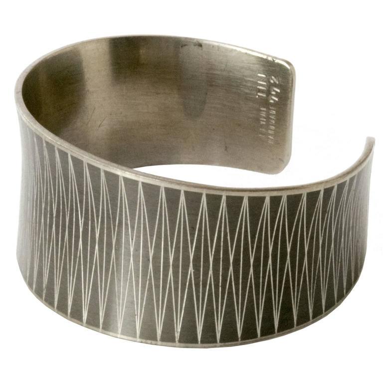 Scandinavian Modern Pewter Bracelet By Jørgen Jensen Vejle Denmark For