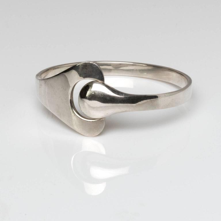 Women's Georg Jensen, Scandinavian Modern silver bracelet, Denmark For Sale
