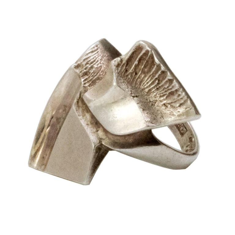 Scandinavian Modern Silver Ring by Matti J. Hyvarinen, Finland 1970 For Sale