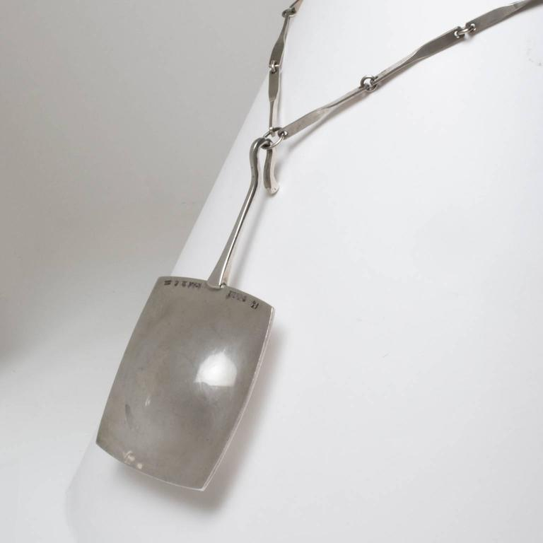 Women's or Men's Scandinavian Modern Silver Pendant w/chain in Sterling by Ove Bohlin, 1972 For Sale