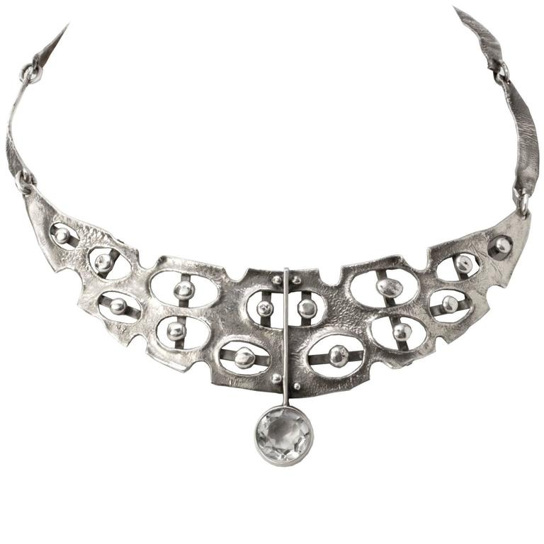 Scandinavian Modern Sterling Silver Necklace by Issac Cohen, Stockholm 1