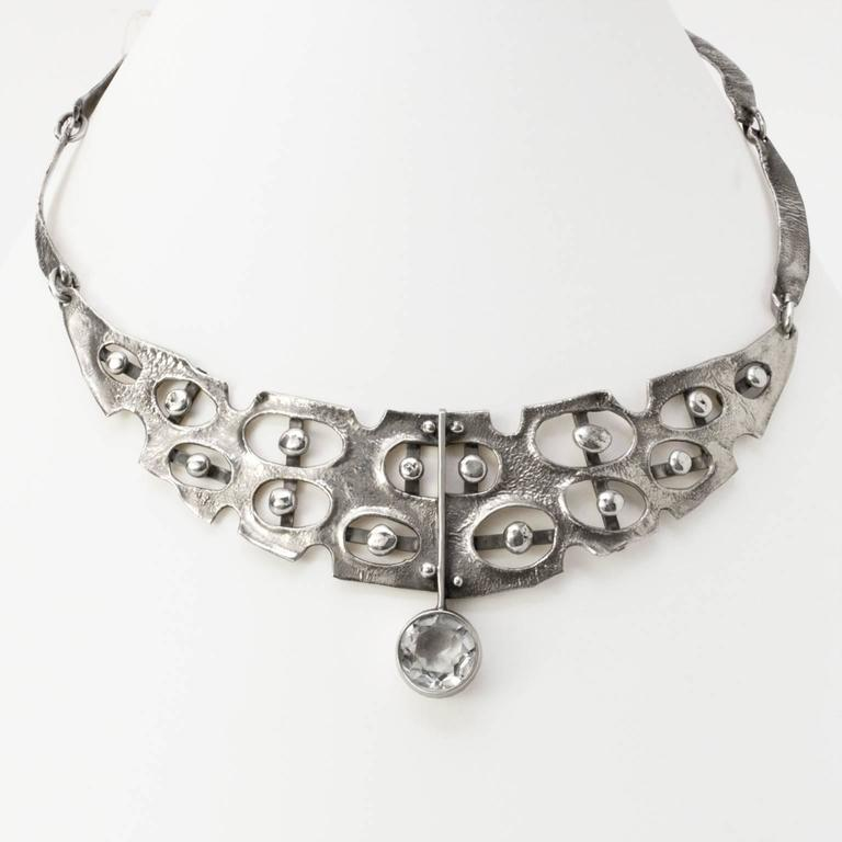 Scandinavian Modern Sterling Silver Necklace by Issac Cohen, Stockholm 2