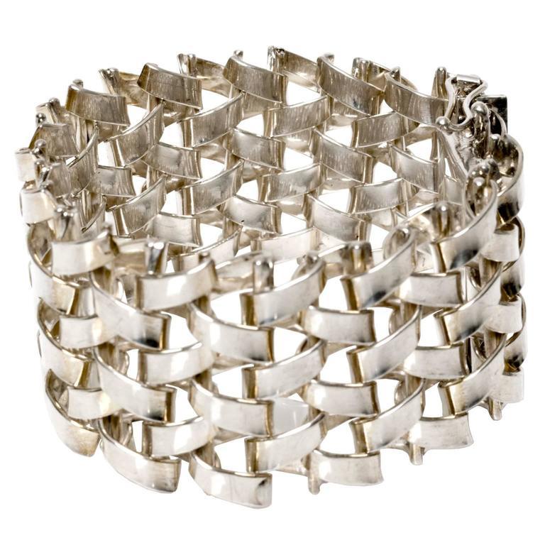 Scandinavian Modern Silver LInk Bracelet Jo Ans, Koping Sweden 1972 For Sale