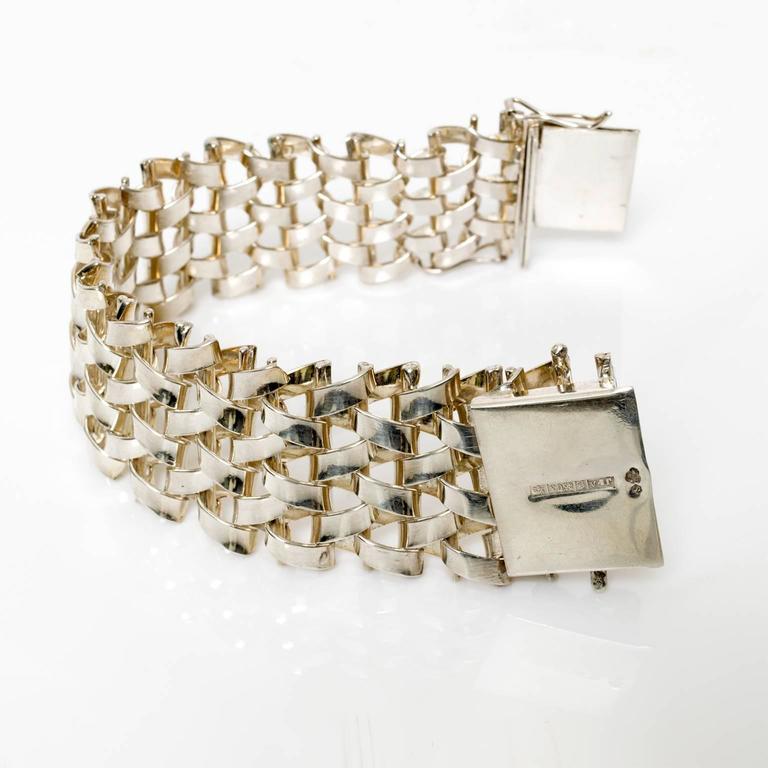 Women's Scandinavian Modern Silver LInk Bracelet Jo Ans, Koping Sweden 1972 For Sale