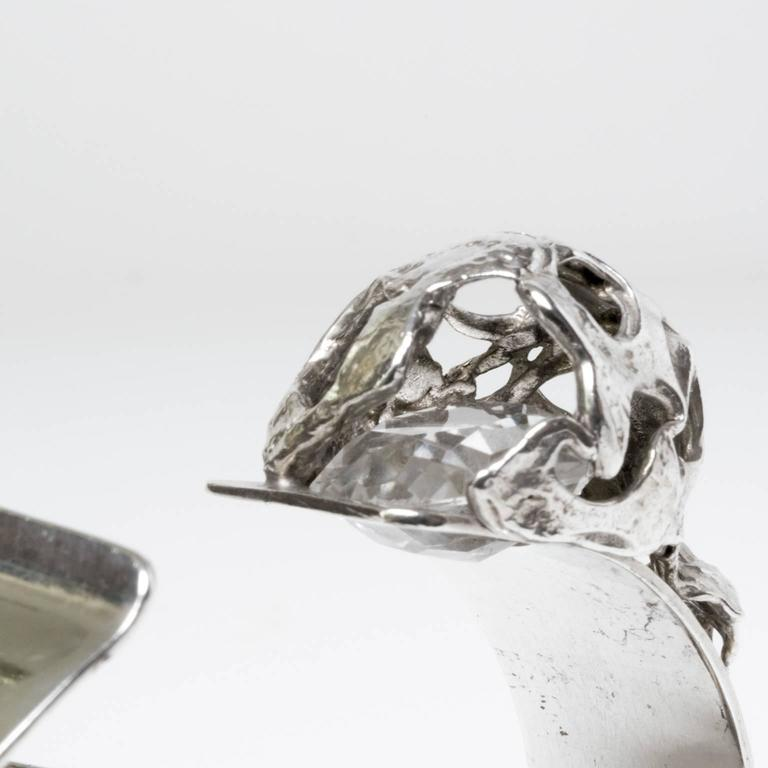 Women's Mid-century Modern Silver bracelet with crystal Peter Von Post, 1971, Stockholm For Sale