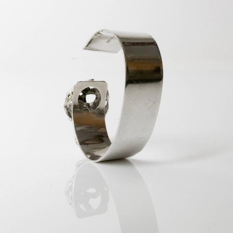 Mid-century Modern Silver bracelet with crystal Peter Von Post, 1971, Stockholm For Sale 1
