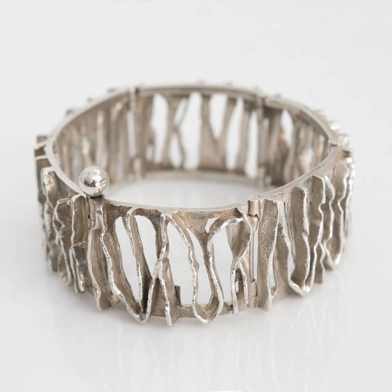 Modernist Scandinavian Modern Silver bracelet from C. Holm, Denmark, 1950's For Sale