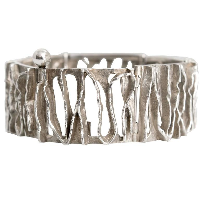 Scandinavian Modern Silver bracelet from C. Holm, Denmark, 1950's For Sale