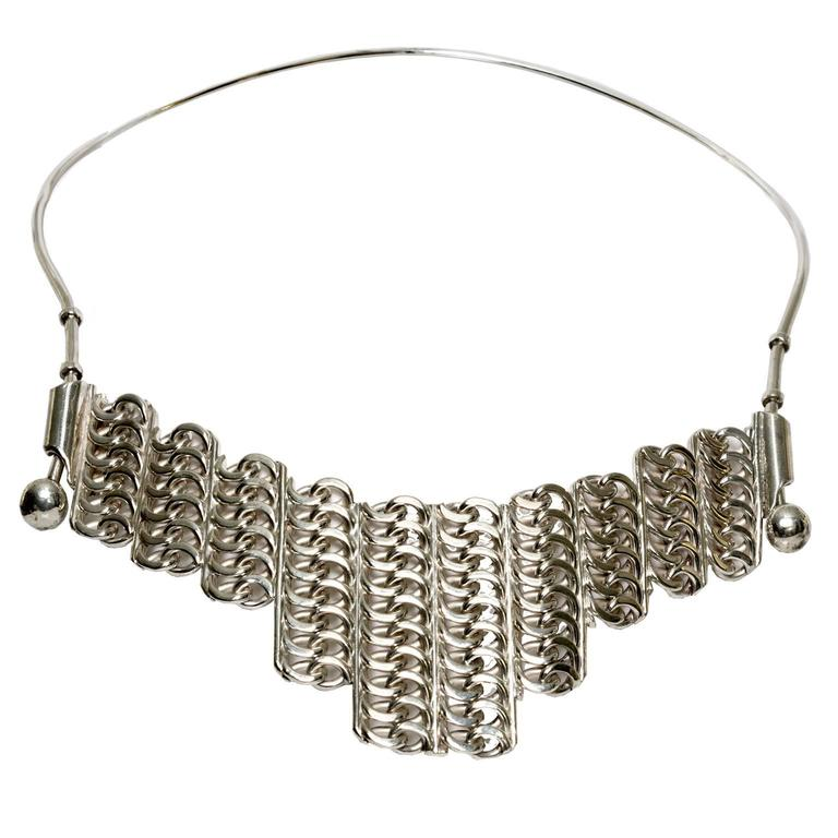 Scandinavian Modern Silver necklace by SG Hellstrom Gnesta, Sweden 1965 For Sale