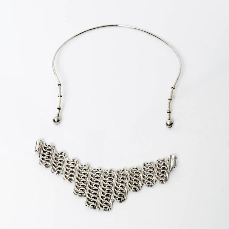 Women's Scandinavian Modern Silver necklace by SG Hellstrom Gnesta, Sweden 1965 For Sale