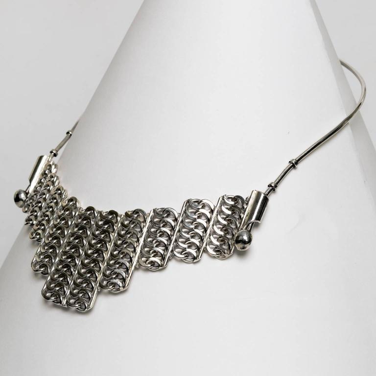 Modernist Scandinavian Modern Silver necklace by SG Hellstrom Gnesta, Sweden 1965 For Sale