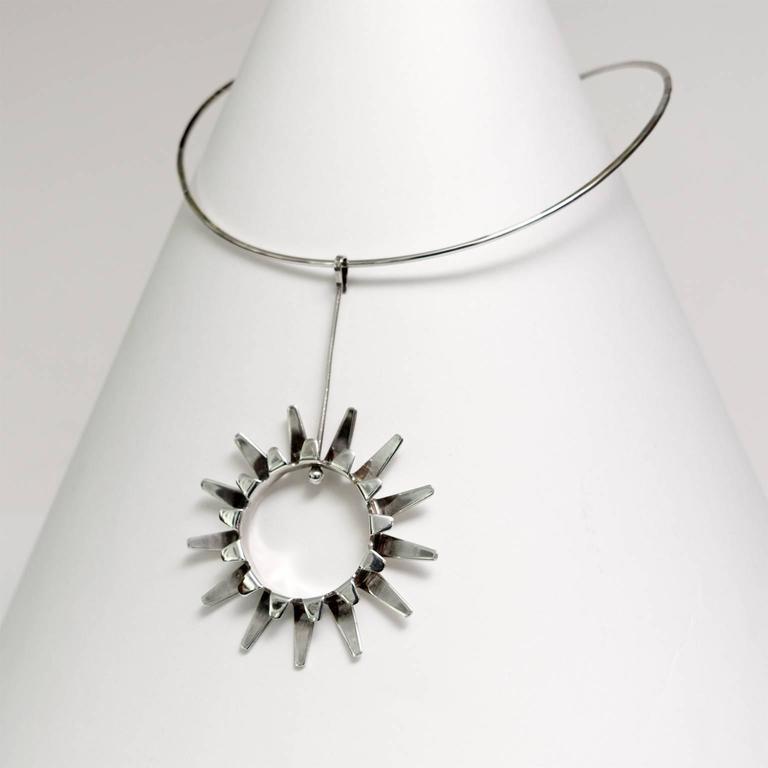 Modernist Scandinavian Modern Silver necklace by Tone Vigeland Norway Designs Plus Studios For Sale