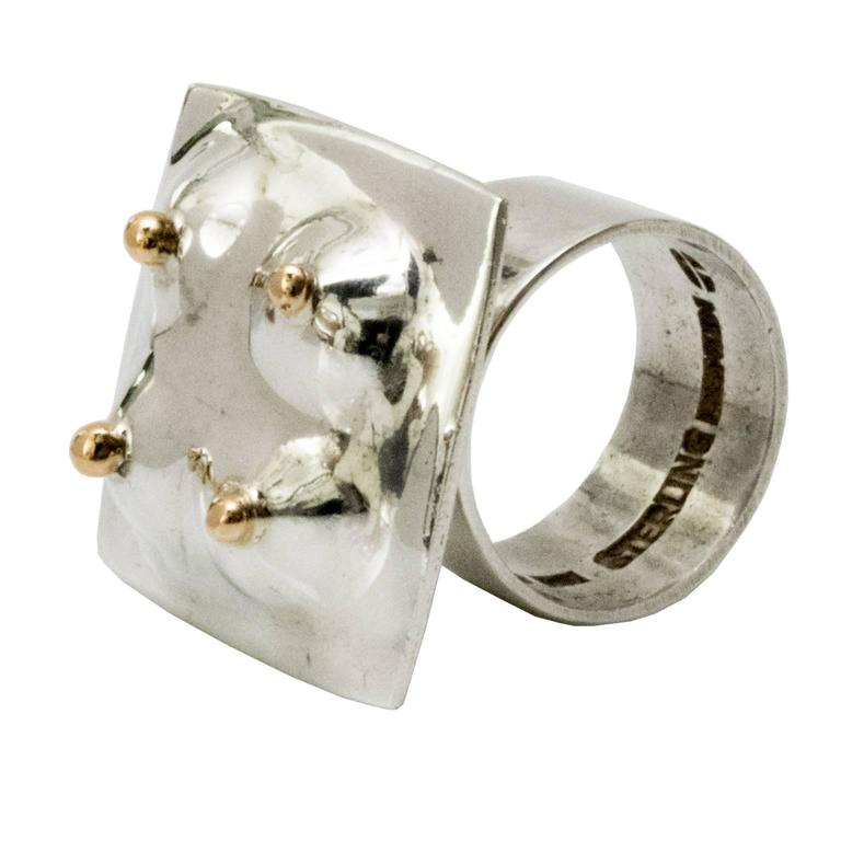 Scandinavian Modern Surrealist silver ring by Ove Bohlin Stockholm 1971 For Sale