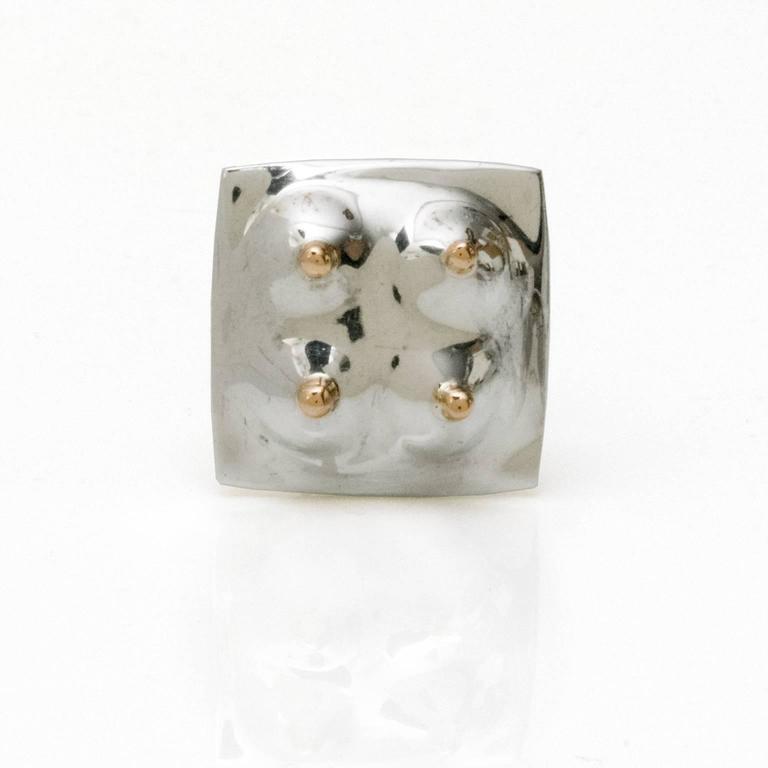 Modernist Scandinavian Modern Surrealist silver ring by Ove Bohlin Stockholm 1971 For Sale