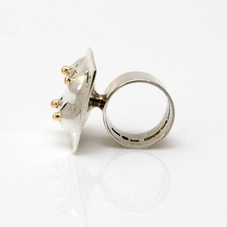 Scandinavian Modern Surrealist silver ring by Ove Bohlin Stockholm 1971 In Excellent Condition For Sale In New York, NY