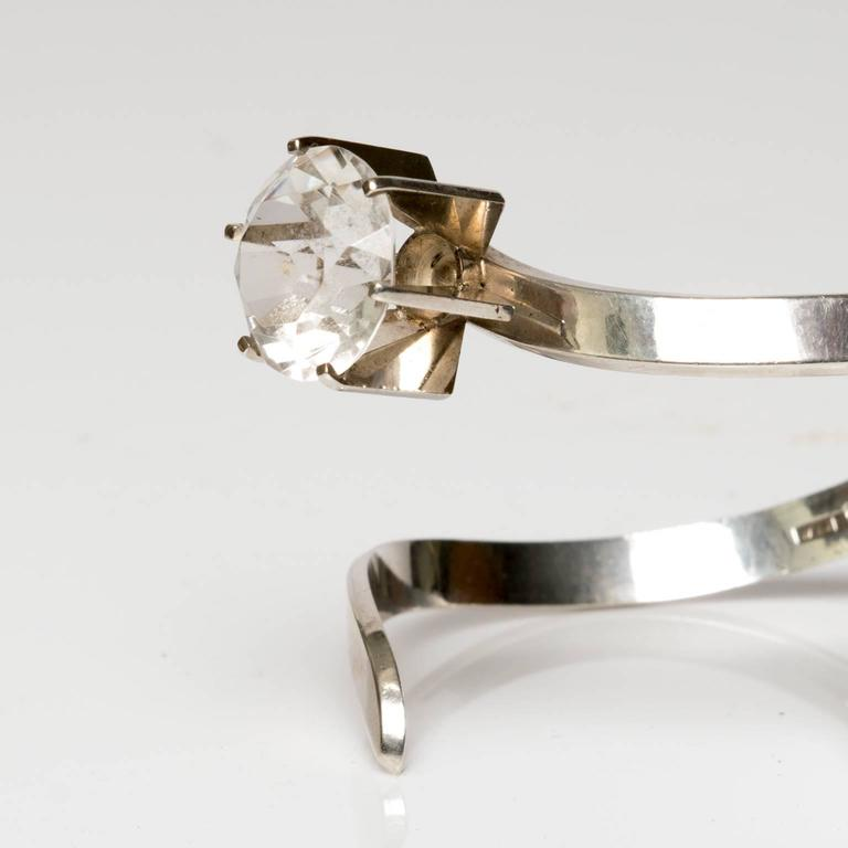 Scandinavian Modern Silver & Rock Crystal bracelet, Waldemar Jonsson, 1969 In Excellent Condition For Sale In New York, NY