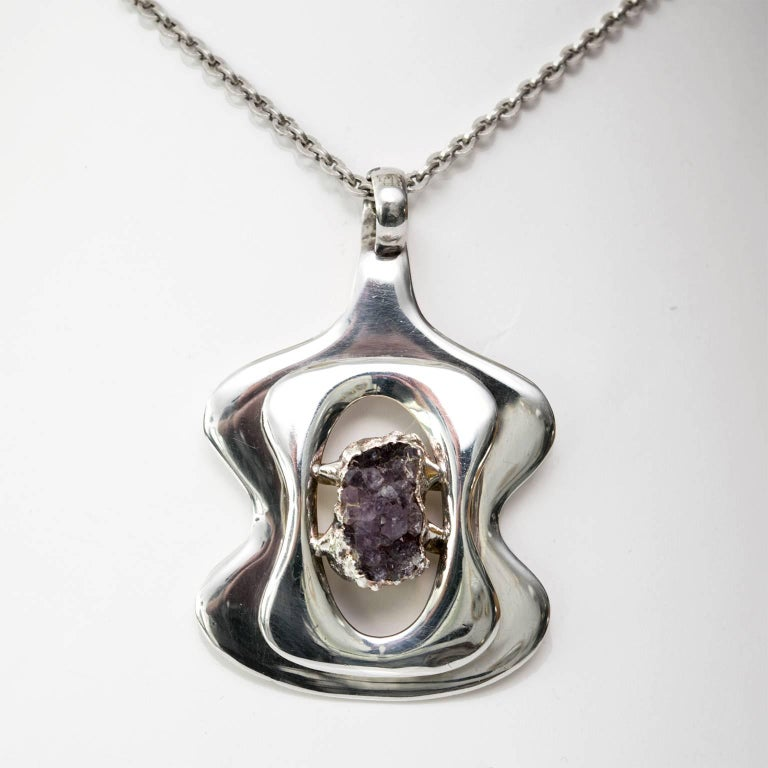 Modernist Scandinavian Modern Silver and Amethyst pendant by Jacob Hull, B&D For Sale