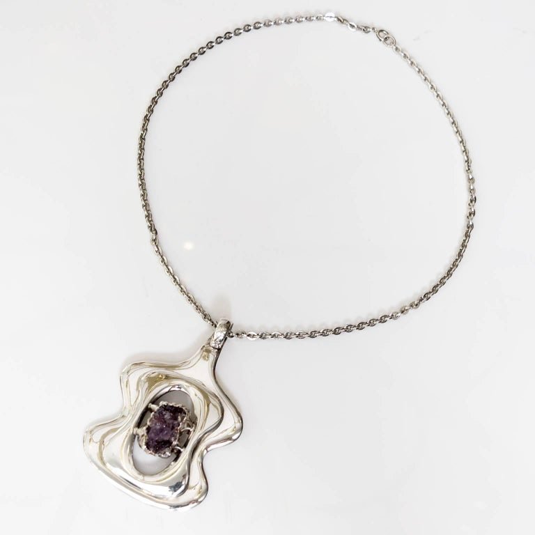 Scandinavian Modern Silver and Amethyst pendant by Jacob Hull, B&D In Good Condition For Sale In New York, NY