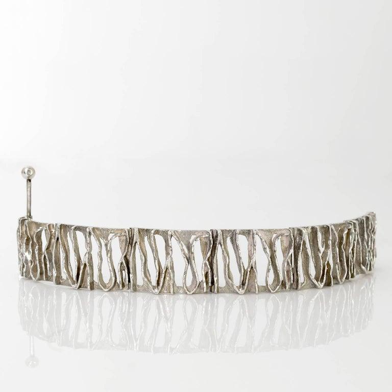 Scandinavian Modern Silver bracelet from C. Holm, Denmark, 1950's For Sale 2