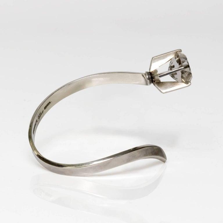Scandinavian Modern silver bracelet with rock crystal by silversmith  Waldemar Jonsson in Skara, Sweden, 1969. Diameter: 2.75