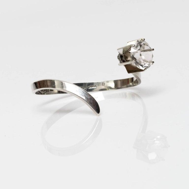 Women's Scandinavian Modern Silver & Rock Crystal bracelet, Waldemar Jonsson, 1969 For Sale