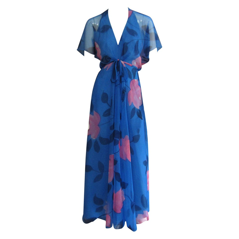 1970s ESTEVEZ Floral Print Maxi Dress