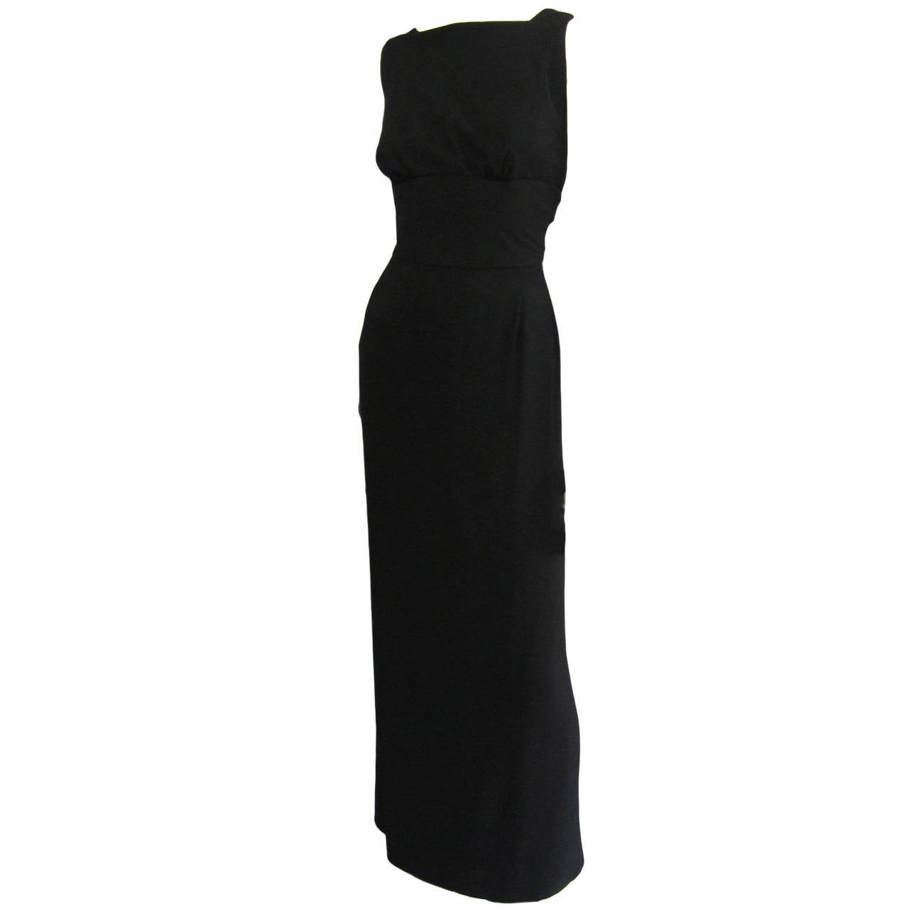 NORMAN NORELL Black Column Evening Gown with Back Tie Detail