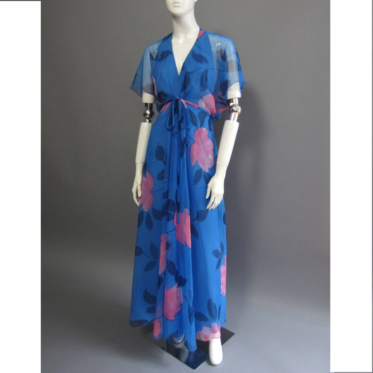 1970s ESTEVEZ Floral Print Maxi Dress 2