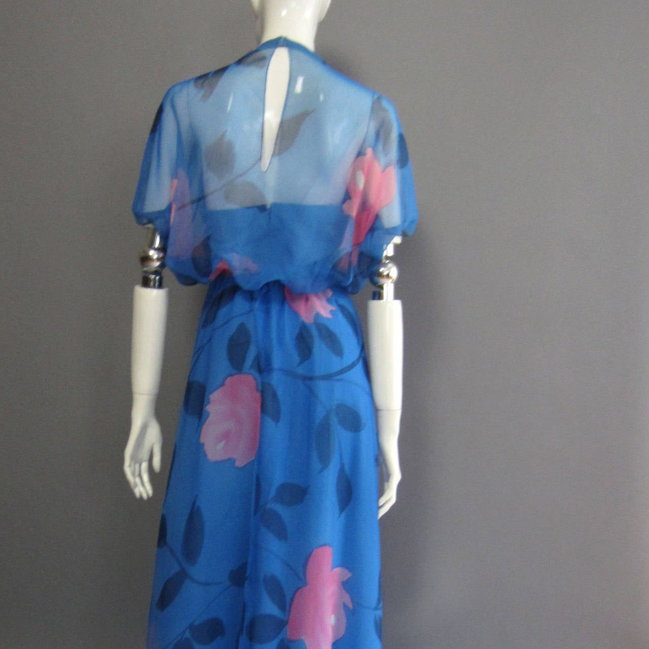 1970s ESTEVEZ Floral Print Maxi Dress 7