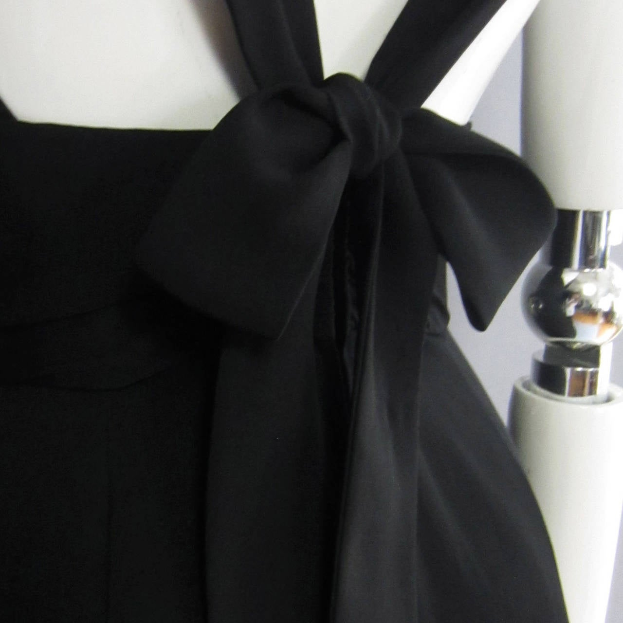 NORMAN NORELL Black Column Evening Gown with Back Tie Detail For Sale 4