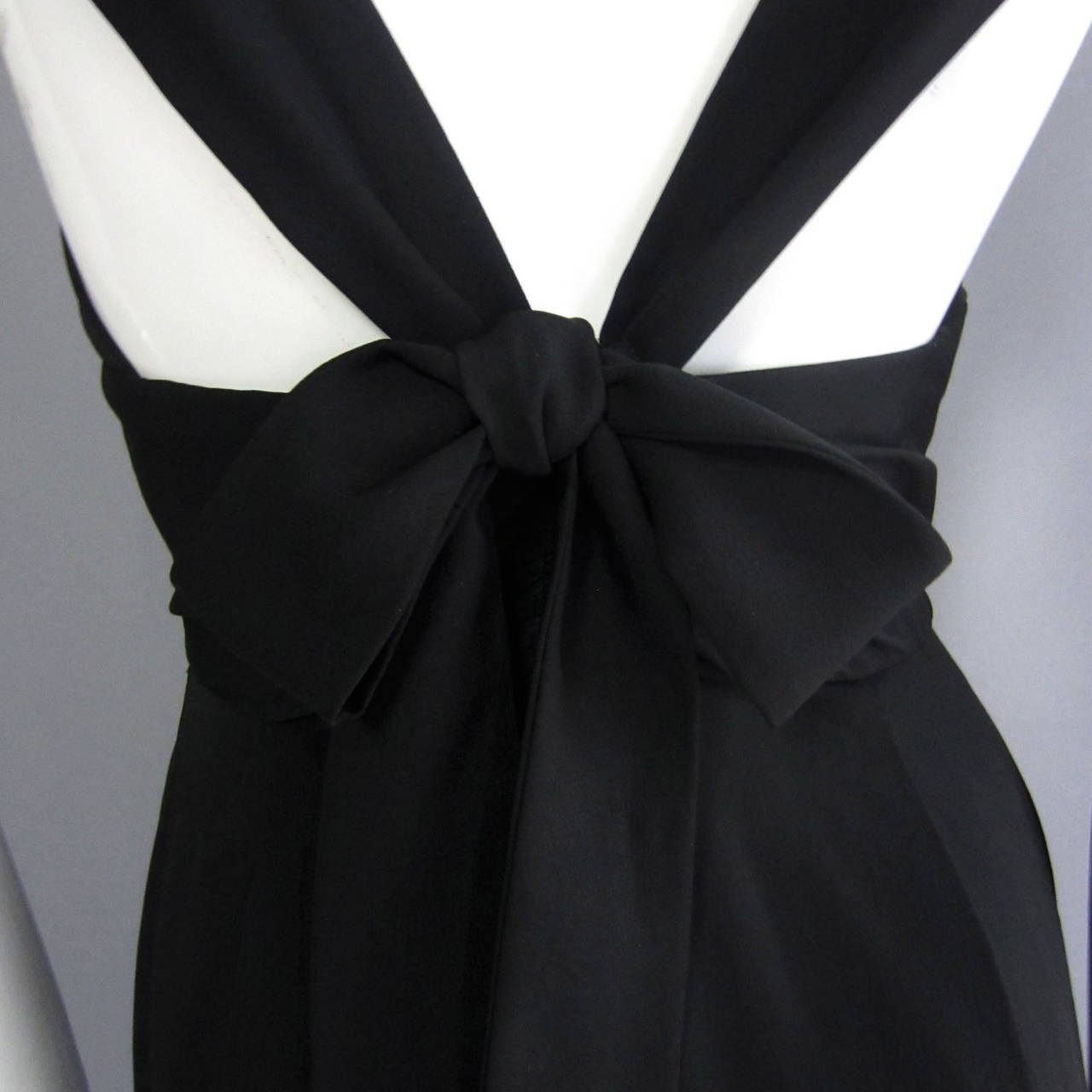 NORMAN NORELL Black Column Evening Gown with Back Tie Detail For Sale 5