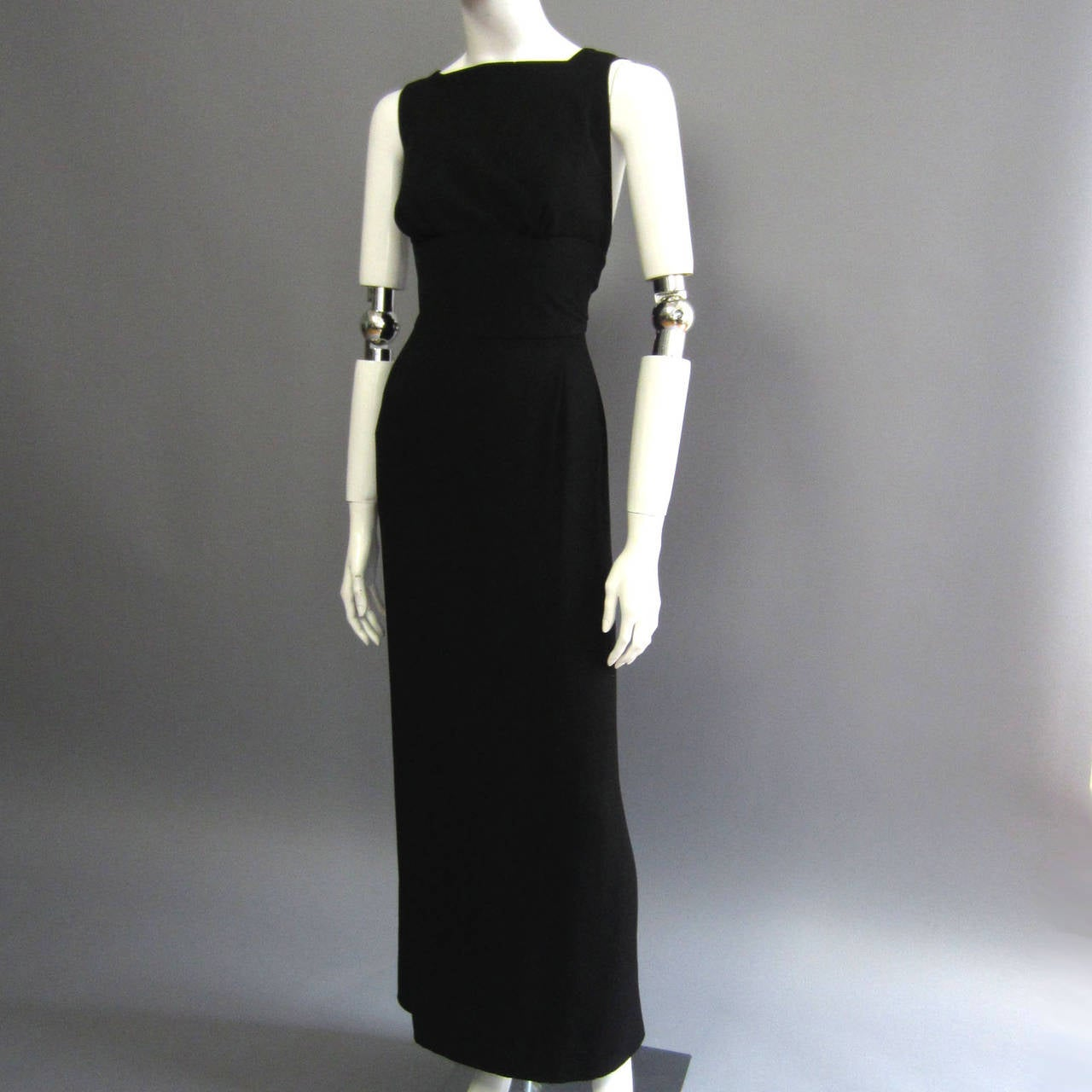 NORMAN NORELL Black Column Evening Gown with Back Tie Detail For Sale 6
