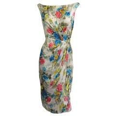 CEIL CHAPMAN Off the Shoulder Floral Silk Cocktail Dress