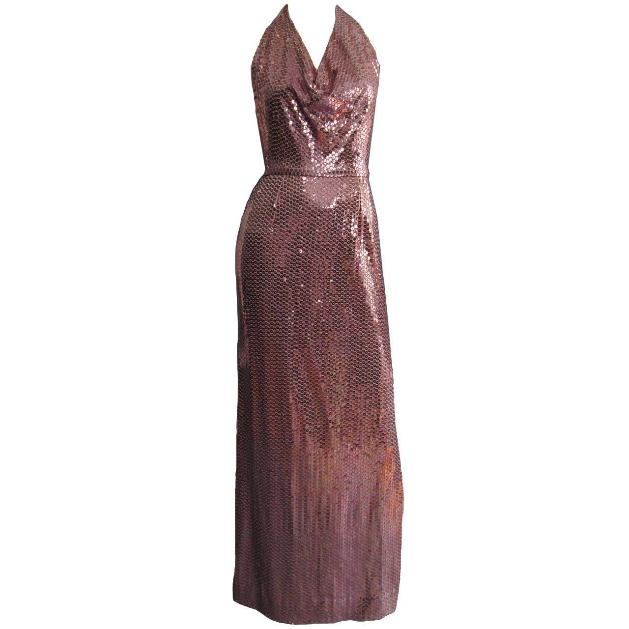 LILLIE RUBIN Pink Sequin Disco Halter Gown at 1stdibs