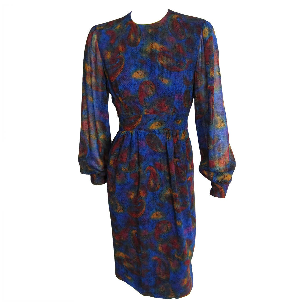 PAULINE TRIGERE Paisley Print Cocktail Dress For Sale