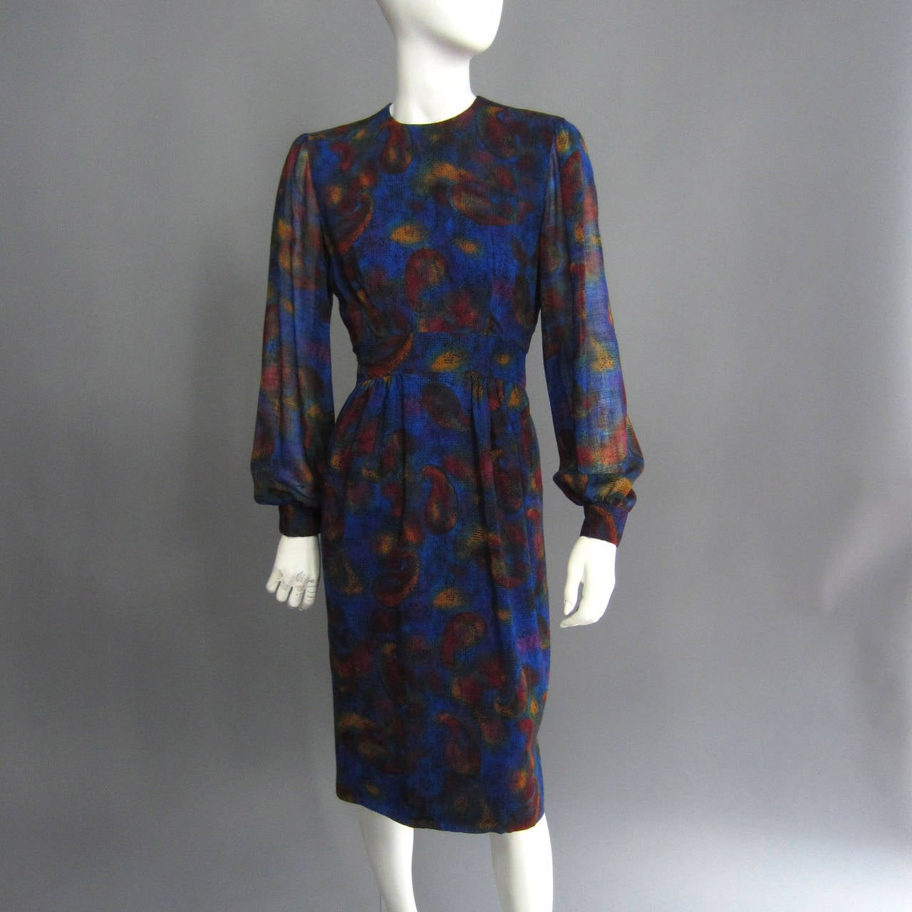 PAULINE TRIGERE Paisley Print Cocktail Dress In Excellent Condition For Sale In New York, NY