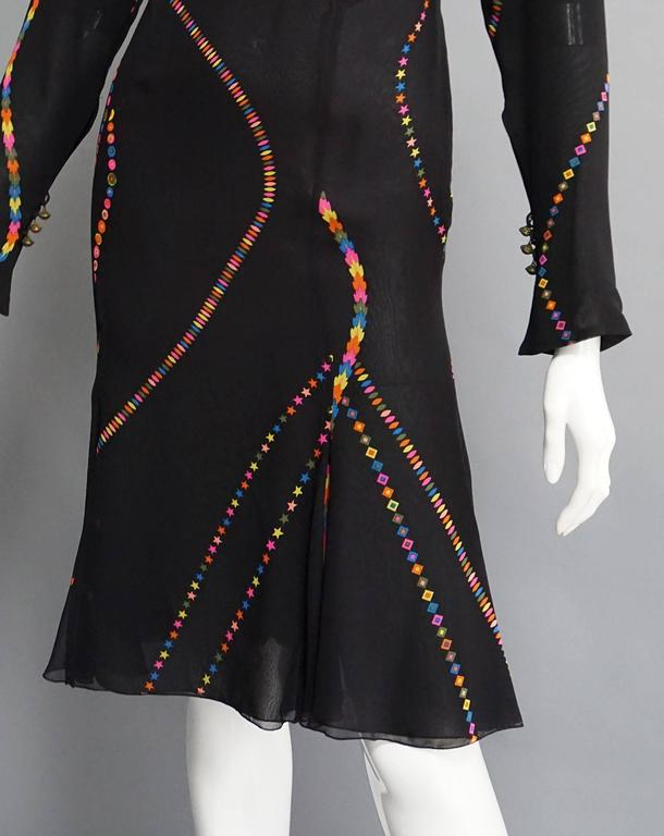 GIANNI VERSACE Printed Silk Fit & Flare Cocktail Dress In Excellent Condition For Sale In New York, NY