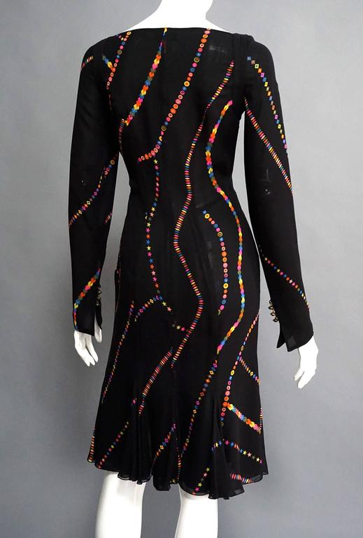 GIANNI VERSACE Printed Silk Fit & Flare Cocktail Dress For Sale 1