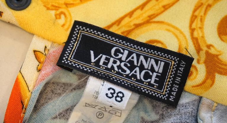 GIANNI VERSACE Print Jersey Dress with Side Snap Detail For Sale 1