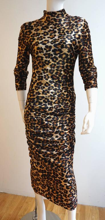 PATRICK KELLY Leopard Print Stretch Velvet Long Sleeve Fitted Dress 2